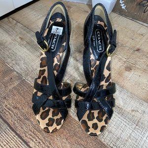 Coach Dorathee patent heel sandals shoes